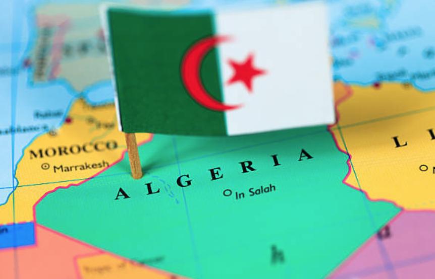 Algeria marked with the Algerian flag