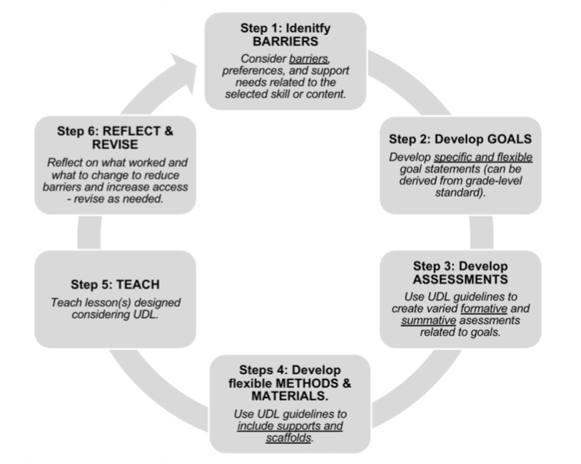 6 step to meaningful UDL teaching; identify barriers, develop GOALS, develop ASSESSMENTS, Develop flexible METHODS and MATERIALS, TEACH, REFLECT and REVISE