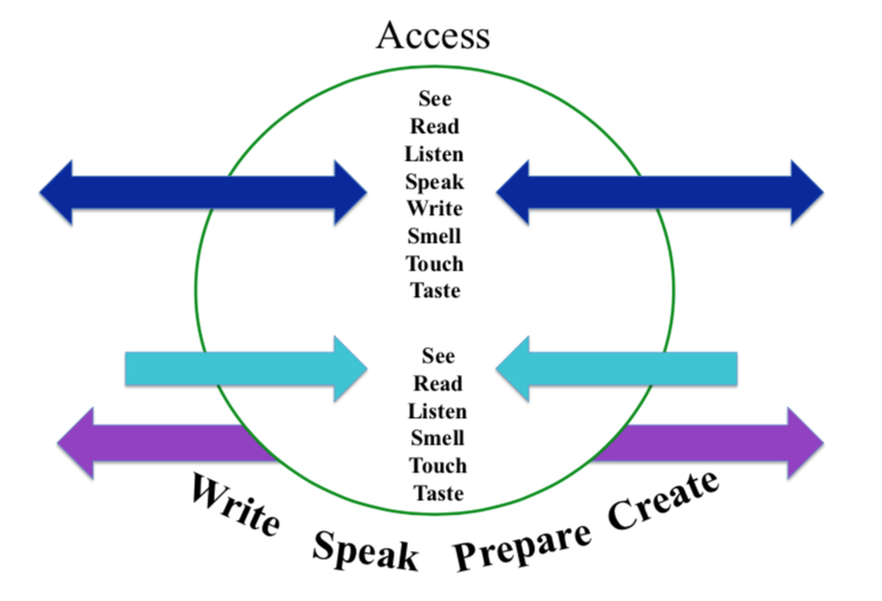 A circle that has many words coming in and out of the circle depending on their relations with the word access.