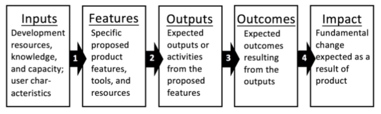 process image show the development stages from inputs to features to outputs to outcomes to impact