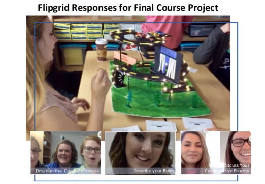 Students explain their final course project creation using Flipgrid, photos taken from Flipgrid responses.