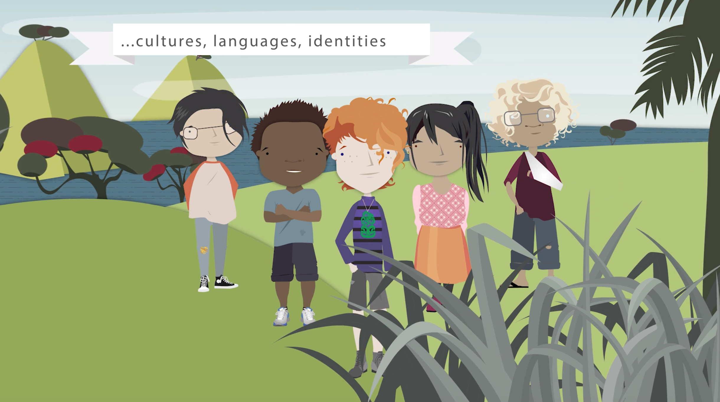 An image from the video showing students bringing their different backgrounds to school.