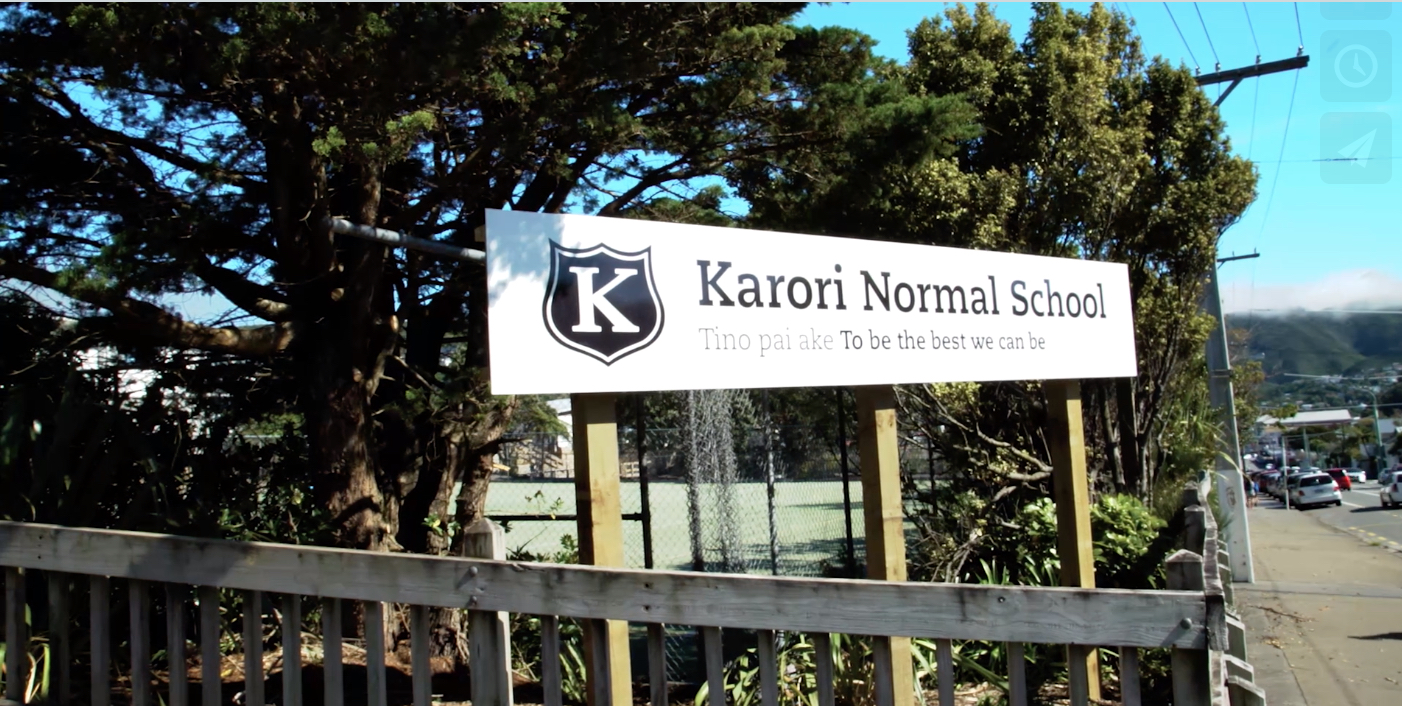 A photo from the video showing the Karori Normal School sign.