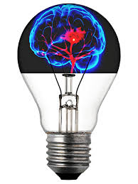 lightbulb with neon blue outline of brain in top of bulb
