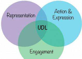 Three circle ven diagram with the words representation, action & expression, and engagement within them, UDL being the common element