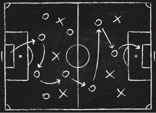 blackboard drawing of a playing field with x's and o's and arrows indicating movement