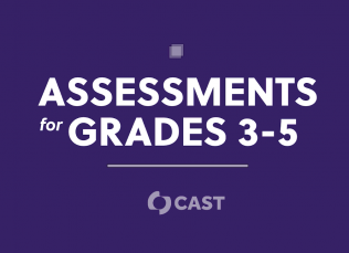 """purple background with the words """"Assessments for Grades 3-5"""" and the CAST logo"""
