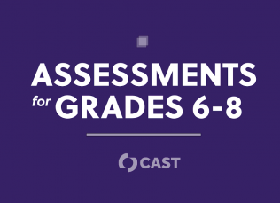 """purple background with the words """"Assessments for Grades 6-8"""" and the CAST logo"""