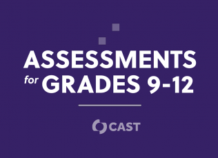 """purple background with the words """"Assessments for Grades 9-12"""" and the CAST logo"""