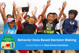 "group of excited kids with raised arms with course title, ""Behavior Data Based Decision Making"" over the photo"
