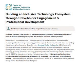 Image of title and first paragraph of text of attached document. Title reads, Buiding an Inclusive Technology Ecosystem through stakeholder Engagement and professional development
