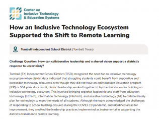 Image of the title and first paragraph of attached document. Title reads, how an Inclusive technology ecosystem supported the shift to remote learning.