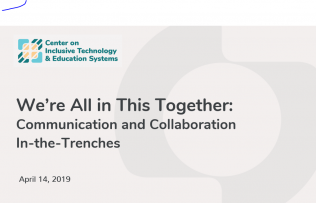 "Image of the title slide of the powerpoint. Title reads we're all in this together"" communication and collaboration in the trenches, april 14 2019"