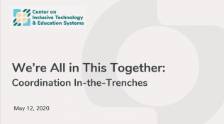 Image of title slide of powerpoint. Title reads we're all in this together:  coordination in the trenches