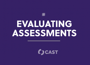 """purple background with the words, """"Evaluating Assessments"""" and the CAST logo displayed underneath the words"""