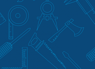 blue background with outlines of tools like a saw, hatchet, compass, and screw driver