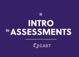 """purple background with the words """"Intro to Assessments"""" and the CAST logo"""