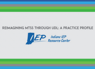 Graphic shows session title (Reimagining MTSS Through UDL: A Practice Profile) and IEP logo