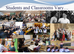 Students and classrooms vary. Pictured: Various types and sizes of classrooms all over the world and throughout history.