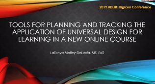 Tools for Planning and Tracking the Application of Universal Design for Learning Principles in a New Online Course