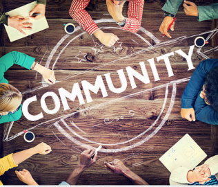 the word community surrounded by many hands
