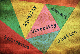 Triangles reading the words; equality, diversity, justice, respect and tolerance.
