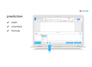 Image of computer showing Texthelp Supports. Text reads: prediction for math, chemistry, and formula.