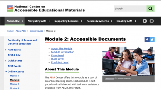 National Center on AEM website page for Module 2: Accessible Documents