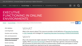 Screen shot of UDL On Campus web site page