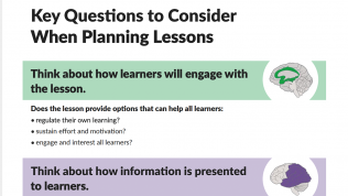 """Text reads Key Questions to Consider When Planning Lessons with a green horizontal bar reading """"think about how learners will engage with the lesson"""" and a purple horizontal bar reading """"think about how information is presented to learners."""""""