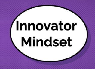 "Graphic shows thought bubble with words ""Innovator Mindset"""
