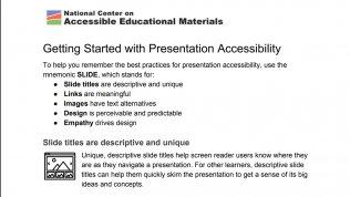Image from the AEM website titled Getting Started with Presentation Accessibility