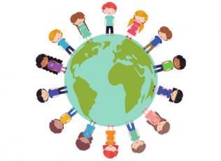 Graphic showing diverse children surrounding a globe