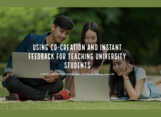 Image shows students studying in a grassy outdoor area with title: Using Co-creation and Instant Feedback for Teaching University Students