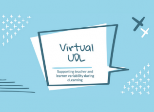 Graphic shows session title: Virtual UDL: Supporting Teacher and Learner Variability during eLearning