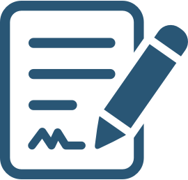 icon of pencil writing on pad of paper